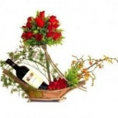Roses and Wine Basket