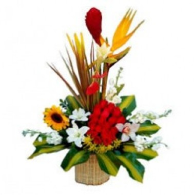 Basket of 19 roses with a sunflower, lilies and tropical flowers.