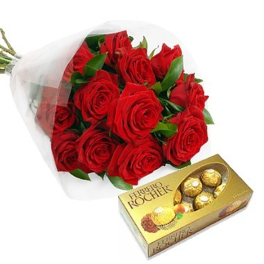 One dozen roses and a chocolates box