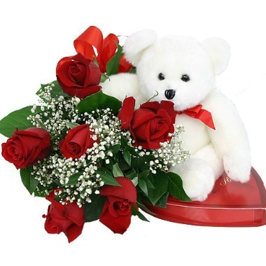 6 roses. Chocolates and Bear included
