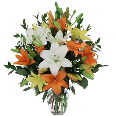 Mix Lilies. Vase included