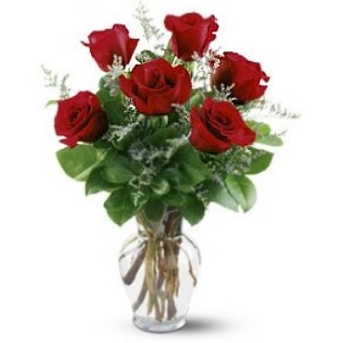 Six roses in a glass vase