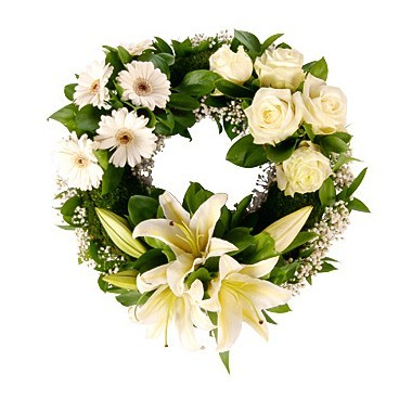 Wreath with roses, liliums and daisies