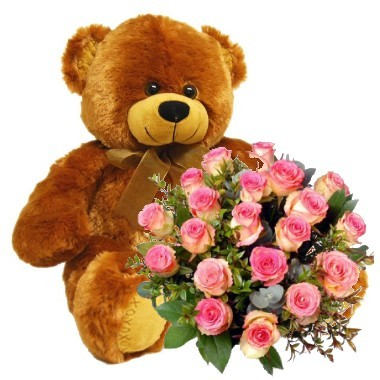 Two dozen roses bouquet and teddy bear