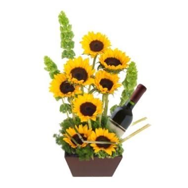 Sunflowers with wine