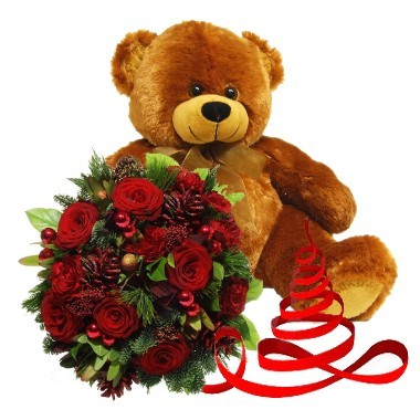 Christmas Bouquet and Teddy Bear