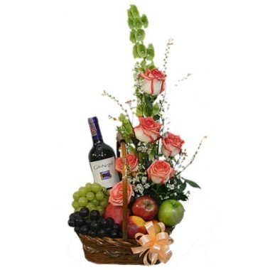 Fruits, Flowers and Wine Basket