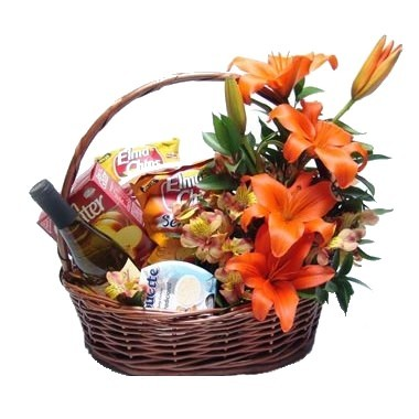 Christmas gourmet basket with lilies