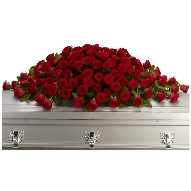 Red Casket Spray of roses