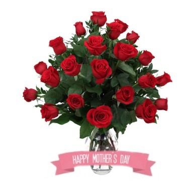 Special for Mom Two dozen roses in a glass vase