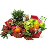 Basket with fruits and candies