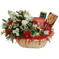 Gourmet basket and flowers