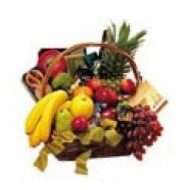 Jumbo basket of season fruits, cookies, cheeses chocolates and wine