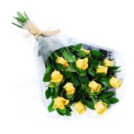 One dozen yellow roses bouquet