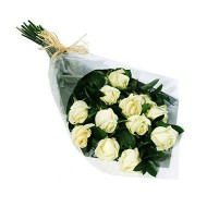 One dozen white roses bouquet