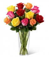 Arrangement in vase of 15 mix roses