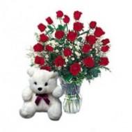 2 dozen roses with teddy bear