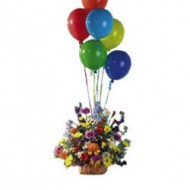 Spring flowers arrangement with balloons