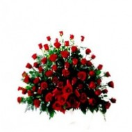 Arrangement of 60 roses with teddy bear
