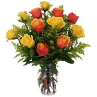 24 yellow and orange roses Vase included
