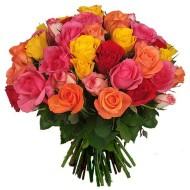 Three dozen mix colour roses bouquet
