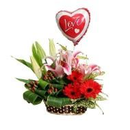Lilies and Daisies basket arrangement