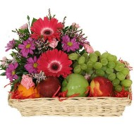 Fruits and gerberas daisies Basket