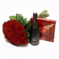 Roses, chocolates and wine