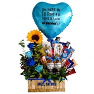 Basket of snacks and blue flowers
