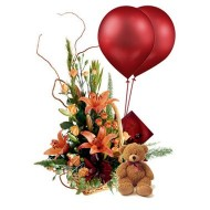 Arrangement with teddy and balloons