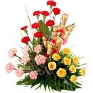 Carnations, roses and chocolates