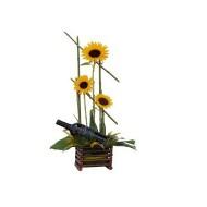 Three sunflowers and wine