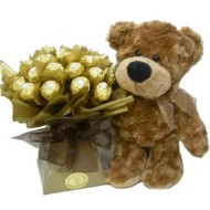 Teddy with chocolates bouquet