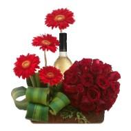 Red roses and gerberas