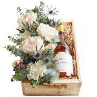 Rose wine and flowers box